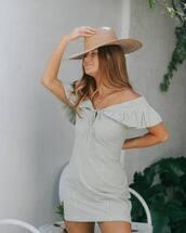 dress,mini dress,plaid dress,off the shoulder,felt hat,hat