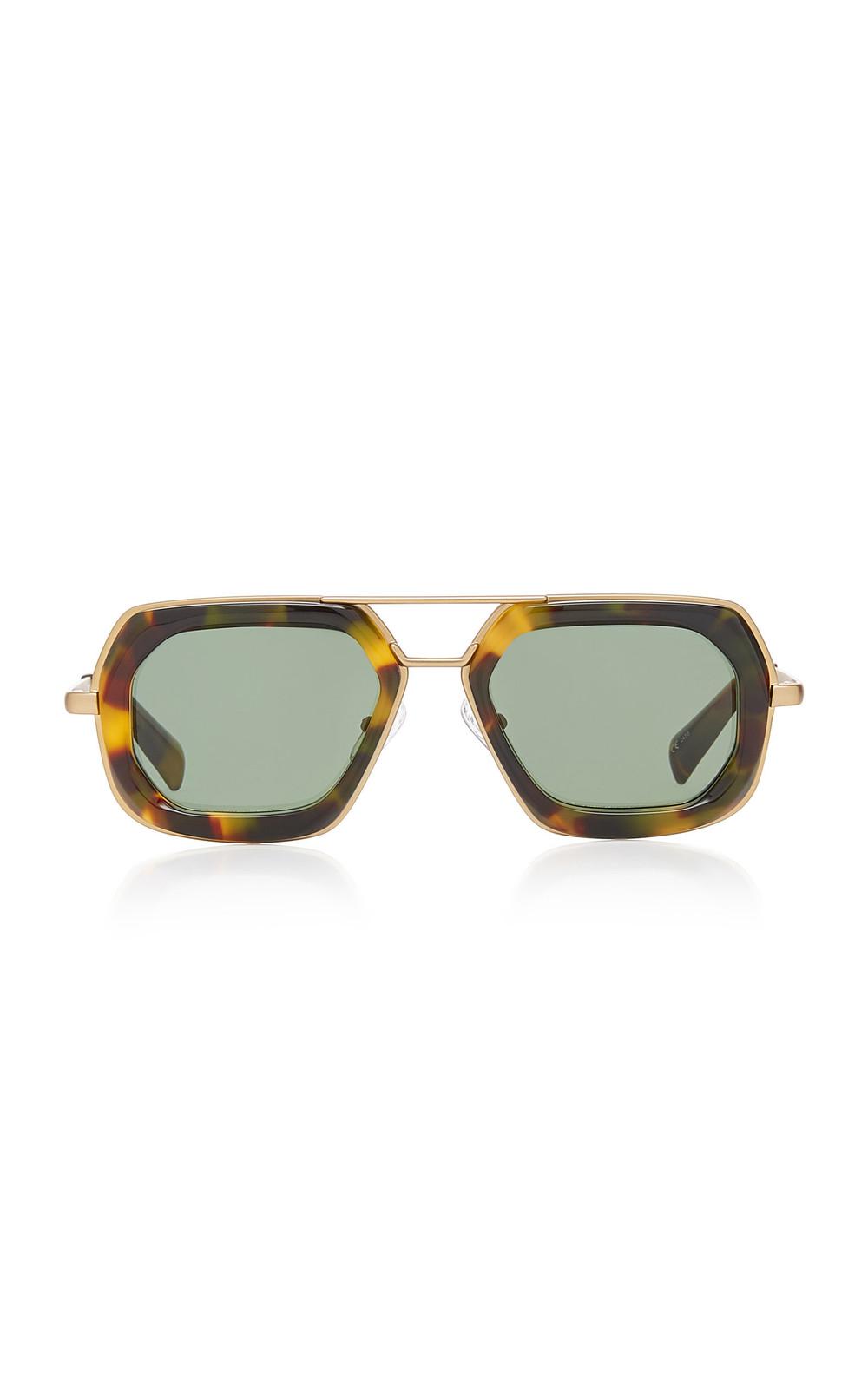 Dries Van Noten Oversized Acetate Aviator-Style Sunglasses in gold