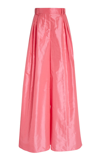 Carolina Herrera High-Waisted Silk-Taffeta Wide-Leg Pants in pink
