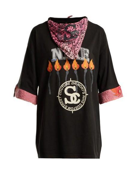 Noki - Customised Street Couture Cotton Bandana T Shirt - Womens - Black Multi