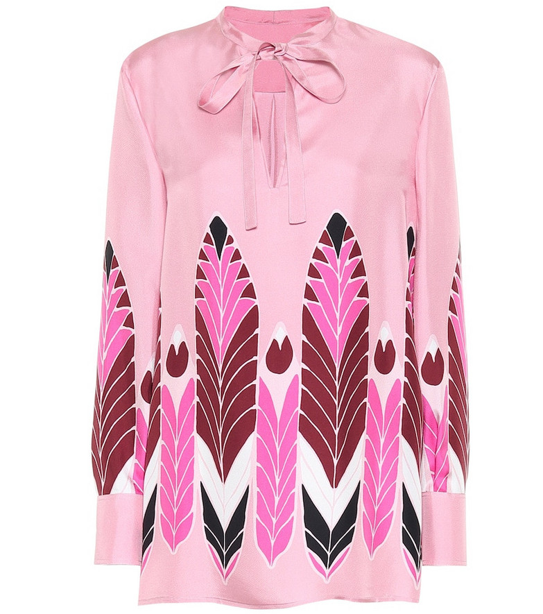 Valentino Printed silk top in pink
