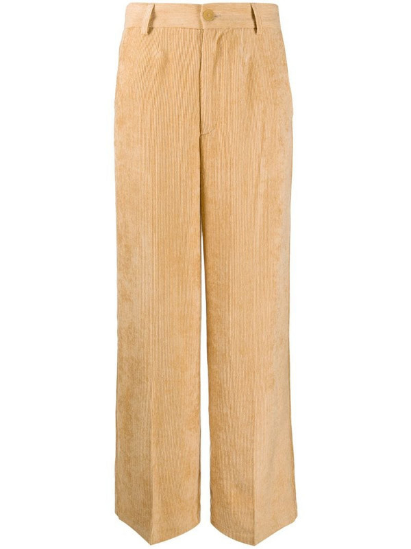 Forte Forte ribbed wide-leg trousers in neutrals