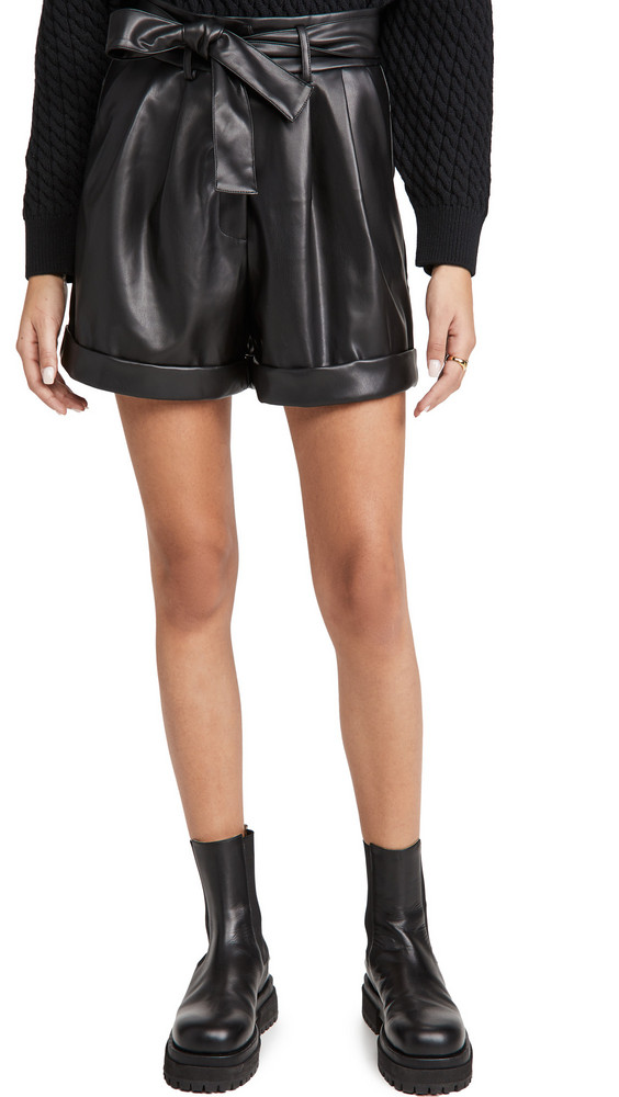 re:named re: named Faux Leather Shorts in black