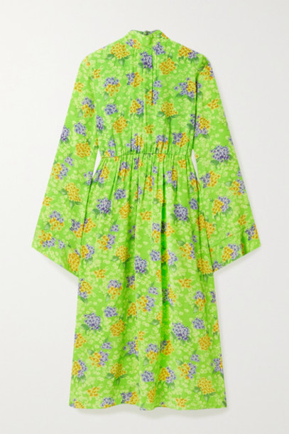 Les Rêveries - Gathered Floral-print Silk-crepe Midi Dress - Green