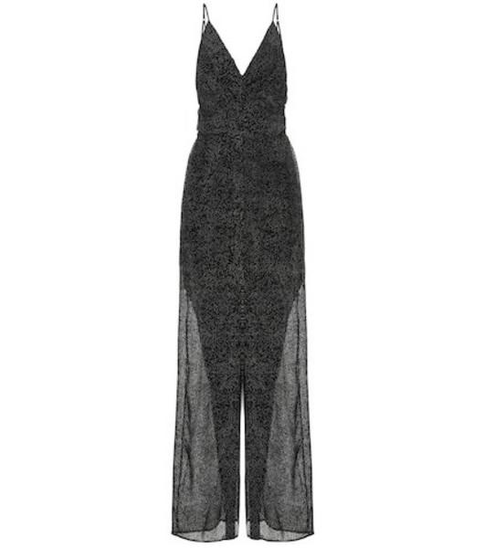Jonathan Simkhai Printed silk-blend jumpsuit in black