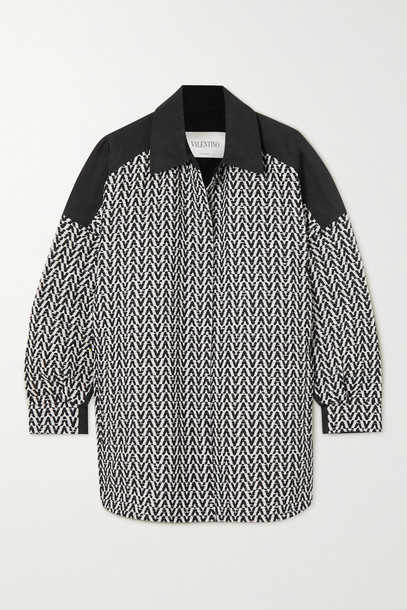 Valentino - Bouclé-tweed And Cotton-gabardine Jacket - Black