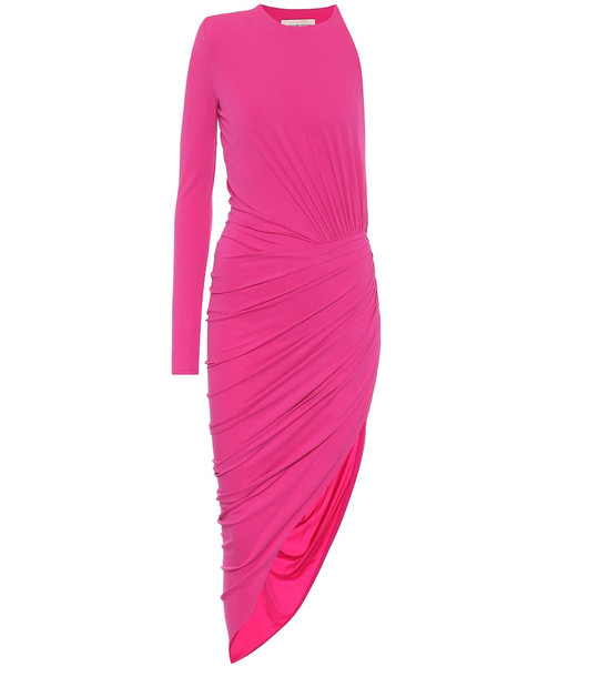 Alexandre Vauthier Asymmetric stretch-jersey midi dress in pink