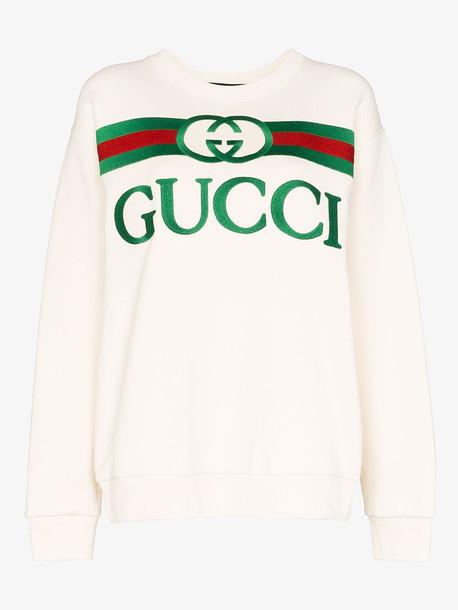 Gucci GCCI TOP SWTSHRT CN LS OS FRNT GCCI LOGO in white