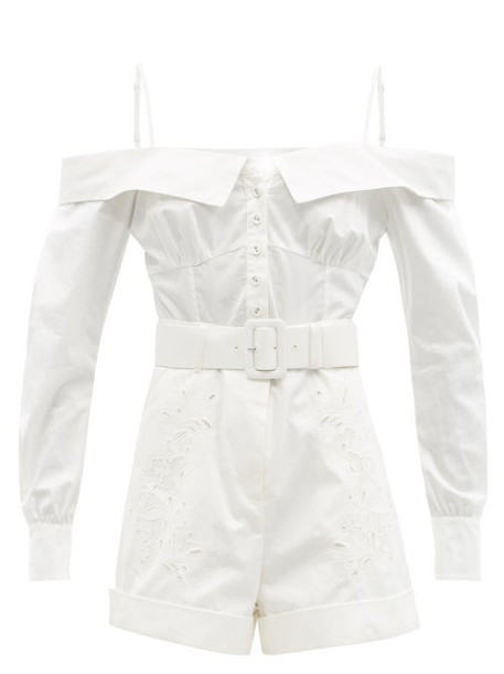 Self-portrait - Off-the-shoulder Embroidered Cotton Playsuit - Womens - White