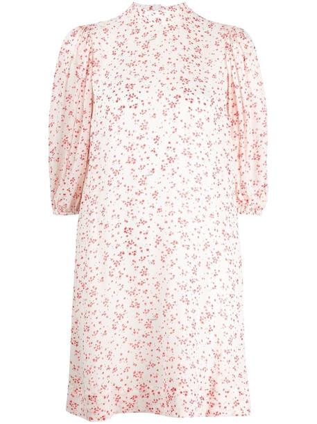 GANNI floral-print puff-sleeve dress - Neutrals