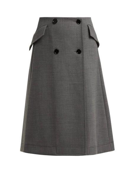 Mm6 Maison Margiela - Button Fastening Wrap A Line Skirt - Womens - Dark Grey