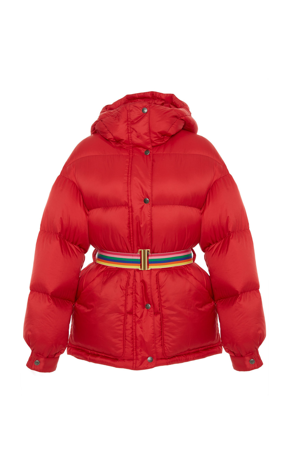 Perfect Moment Belted Quilted Shell Hooded Parka in red