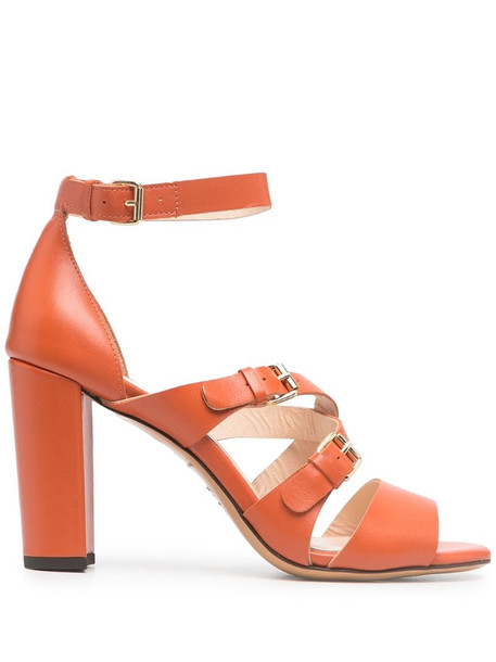 Tila March open-toe leather sandals in orange