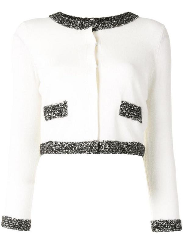 Paule Ka cropped contrasting-trim cardigan in white