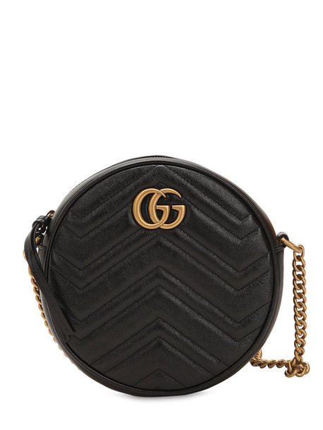 GUCCI Mini Circle Gg Marmont Leather Bag in black
