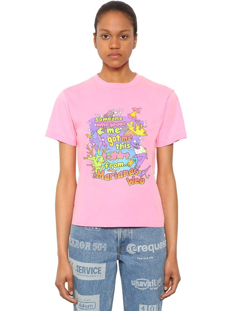 VETEMENTS Fitted Cotton Jersey T-shirt in pink