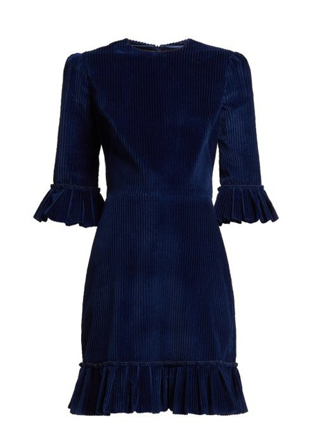 The Vampire's Wife - Mini Festival Ruffled Corduroy Dress - Womens - Navy