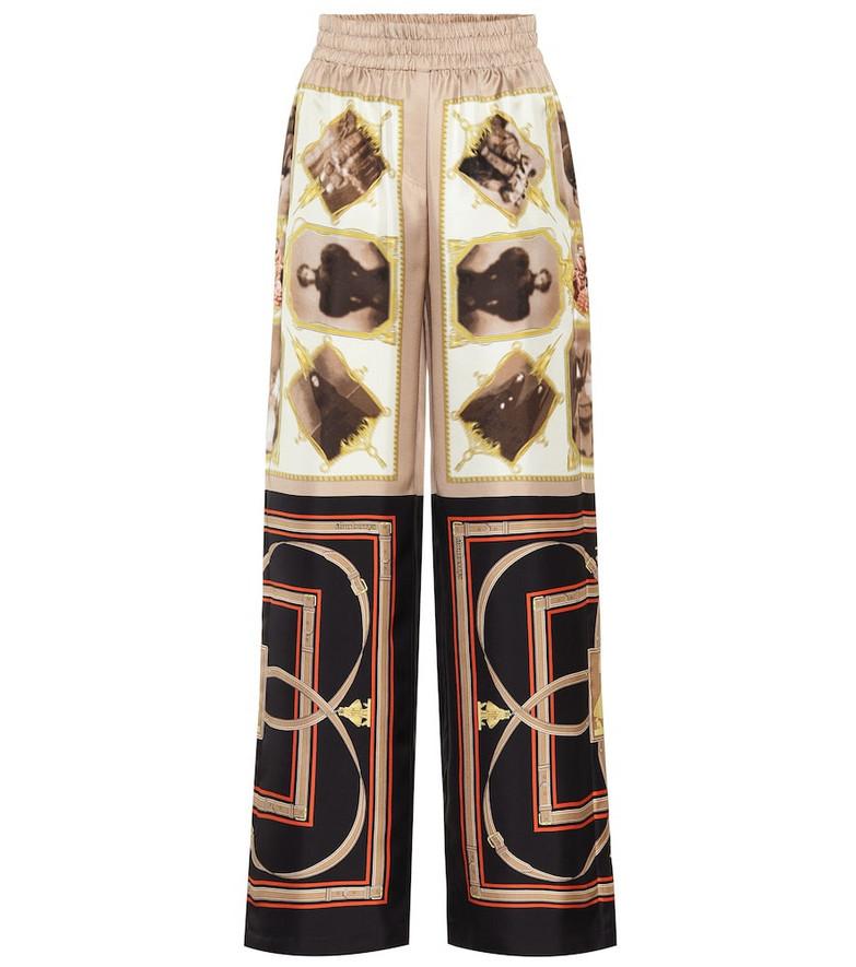 Burberry Printed silk pants in brown