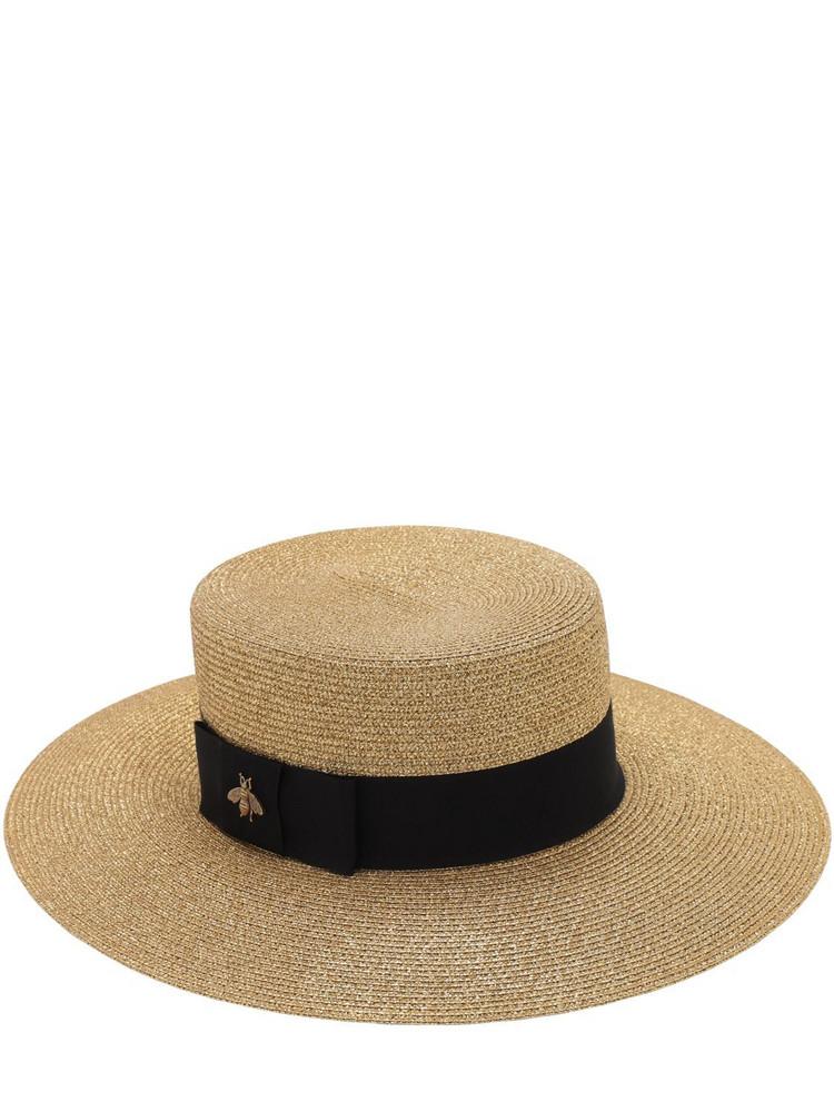 GUCCI Straw Hat W/ Cotton Details in black / beige