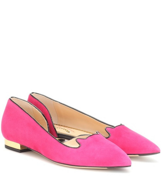 Charlotte Olympia Kitty suede ballet flats in pink