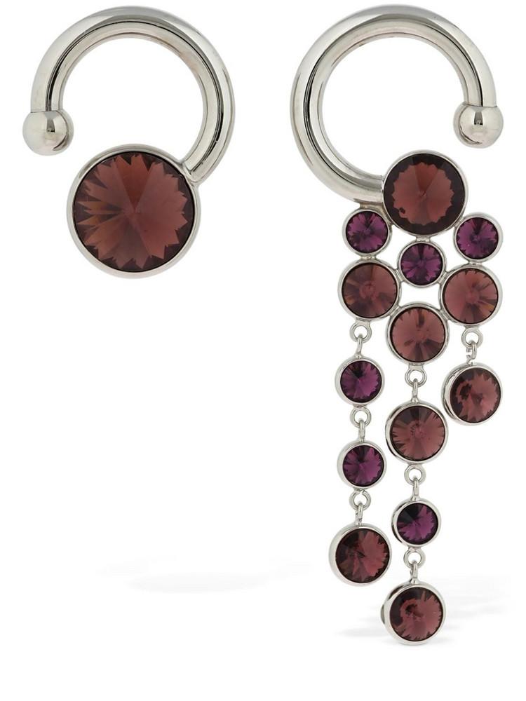 SUNNEI Crystals Asymmetrical Earrings in purple / silver