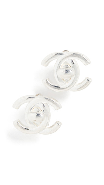 What Goes Around Comes Around Chanel Silver Turn Lock Earrings