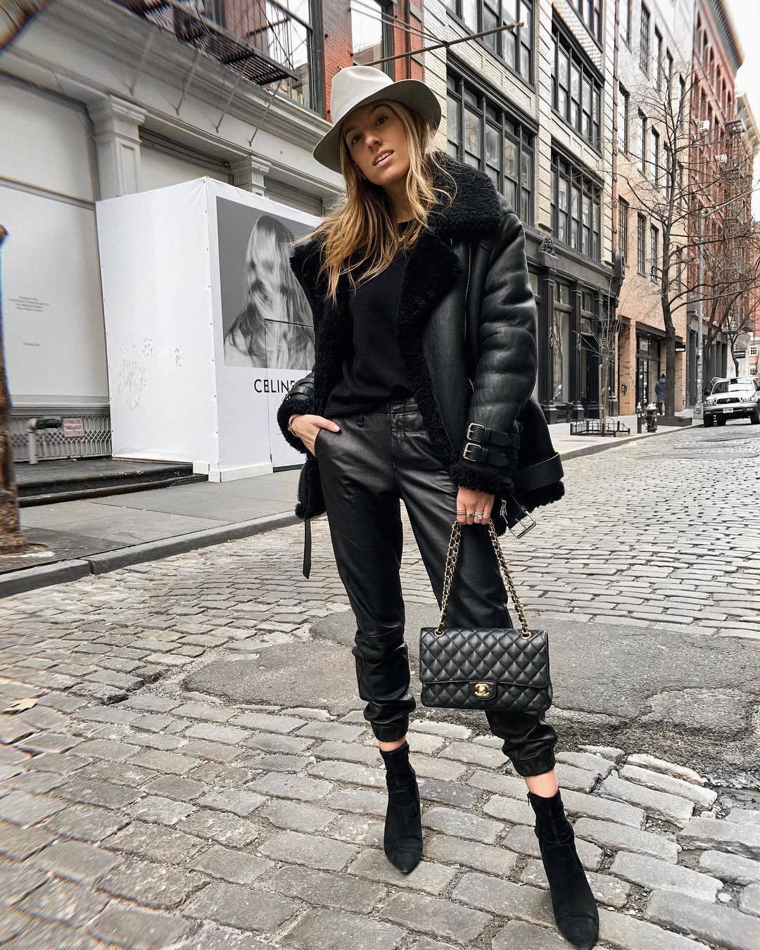 pants black leather pants cropped pants black boots heel boots black bag chanel bag aviator jacket black sweater hat