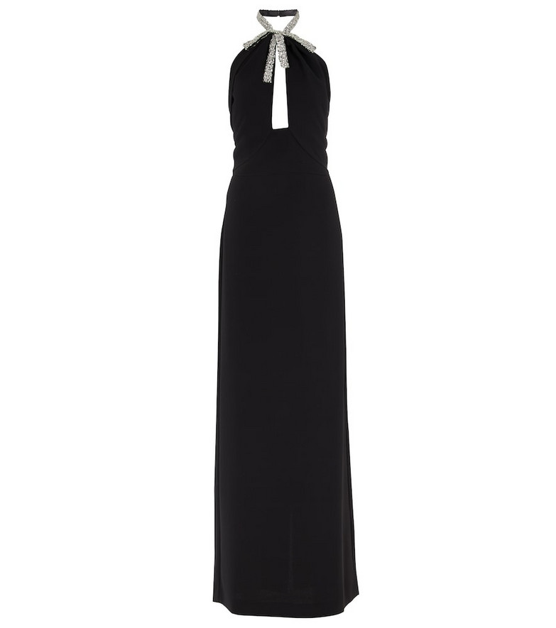 Oscar de la Renta Embellished stretch-silk gown in black