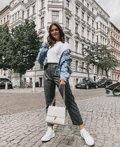 pants,high waisted pants,plaid,white sneakers,white bag,denim jacket,sweatshirt