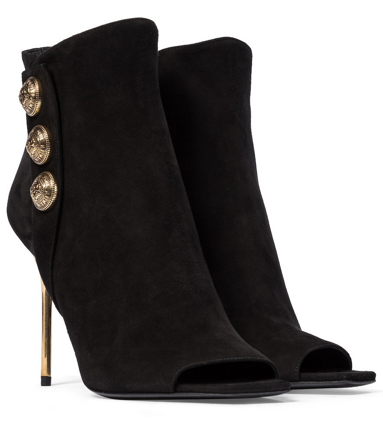 Balmain Roma peep-toe suede ankle boots in black