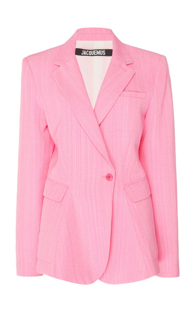 Jacquemus La Veste Qui Vole Tailored Silk-Blend Blazer Size: 36 in pink