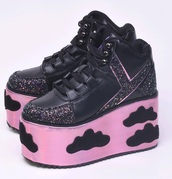 shoes,platform shoes,clouds,pastel goth,pastel,platform sneakers,kawaii,kawaii grunge,kawaii shoes,holographic,hologram sneakers,pink shoes
