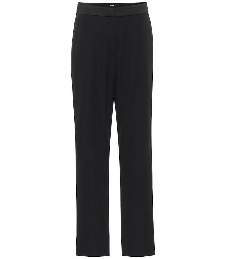 Balmain Low-rise straight satin pants in black