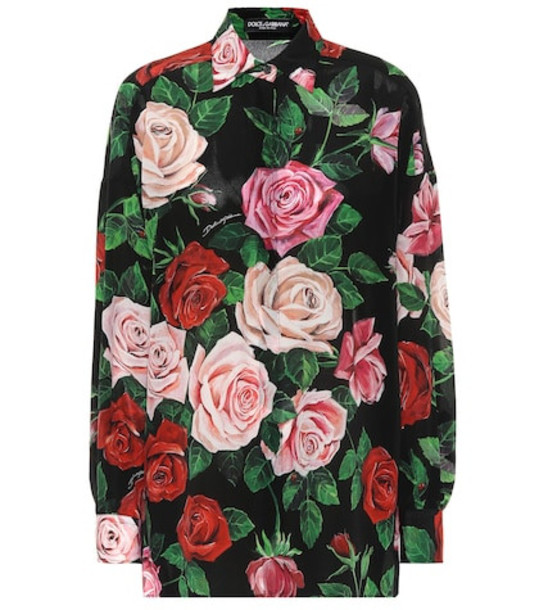 Dolce & Gabbana Floral-printed silk shirt in black