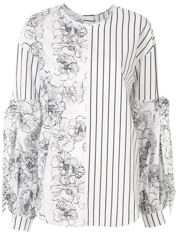 Silvia Tcherassi contrast pattern blouse in white