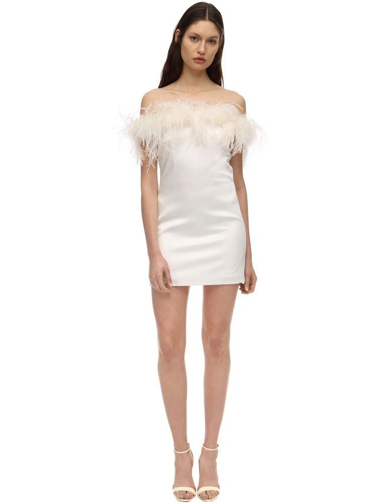 SAINT LAURENT Satin Mini Dress W/ Feathers in ivory