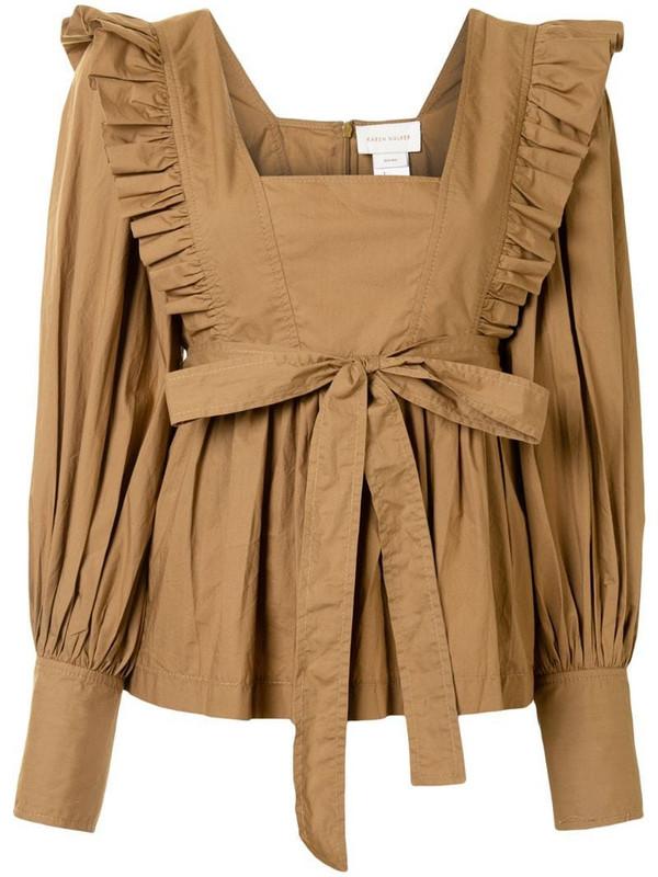 Karen Walker Chestnut ruffle-trimmed cotton blouse in brown