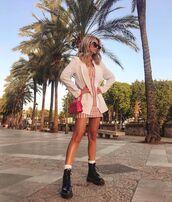 dress,mini dress,striped dress,white blazer,black boots,DrMartens,pink bag