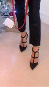 shoes,black,studded shoes,heels,strappy