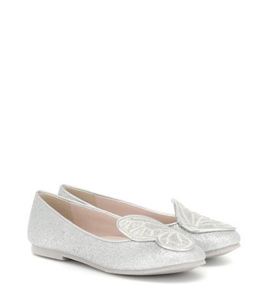 Sophia Webster Mini Bibi Butterfly leather ballet flats in silver
