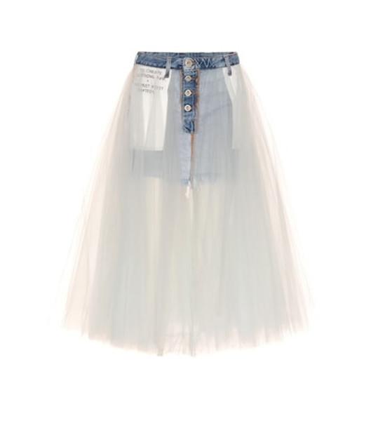 Unravel Tulle-skirted denim shorts in blue