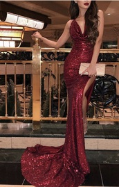 dress,red dress,red,prom dress,formal dress,slit dress,red sparkle,train,long