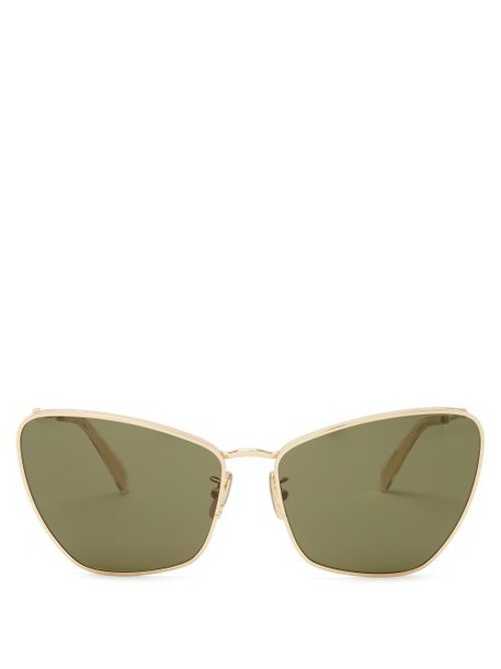Celine Eyewear - Butterfly Metal Sunglasses - Womens - Green Gold