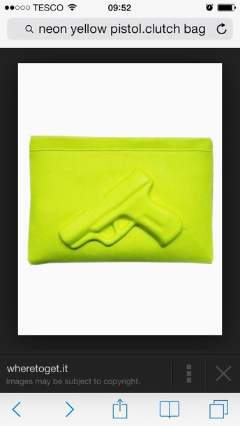 bag neon yellow pistol clutch bag