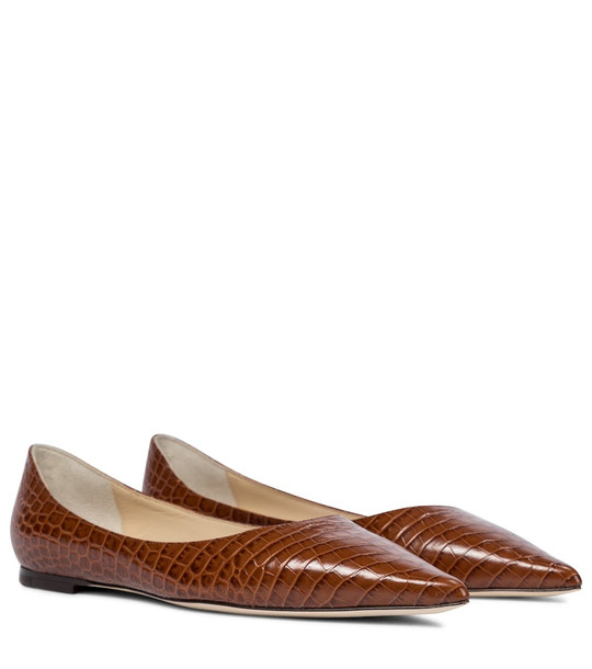 Jimmy Choo Love leather ballet flats in brown