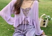 jacket,lavender,purple dress,light,kfashion,korean fashion