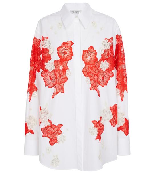 Valentino Lace-trimmed cotton poplin shirt in white