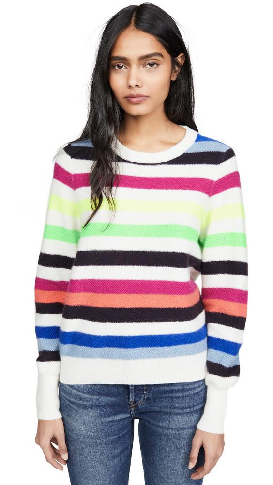 White + Warren White + Warren Bold Stripe Cashmere Sweatshirt