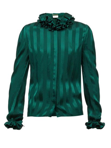 Saint Laurent - Ruffled Striped-satin Blouse - Womens - Green
