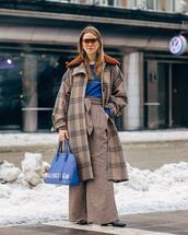 bag,blue bag,leather bag,balenciaga,plaid,wide-leg pants,high waisted pants,coat,long coat,blue top